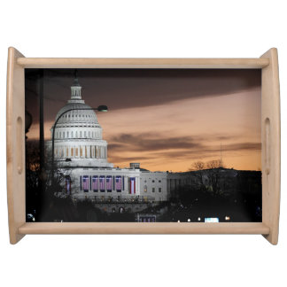 United States Capitol Building at Dusk Serving Platters