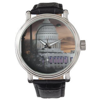 United States Capitol Building at Dusk Wrist Watches