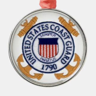 United States Coast Guard Emblem Silver-Colored Round Decoration