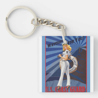 United States Coast Guard is Watching for You Single-Sided Square Acrylic Key Ring
