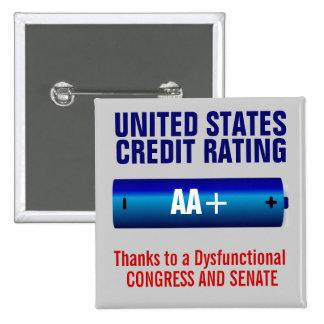 United States Credit Rating AA+ 15 Cm Square Badge