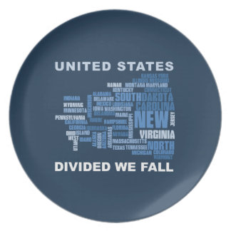 United States Divided We Fall HQ Colored Gifts Plate