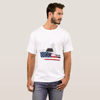 United States Flag Boat T-Shirt