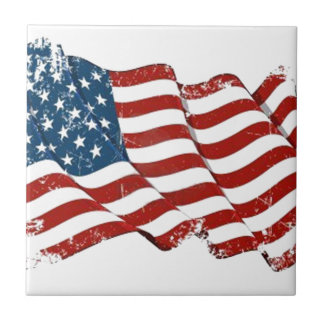 United States Flag Distressed look Small Square Tile