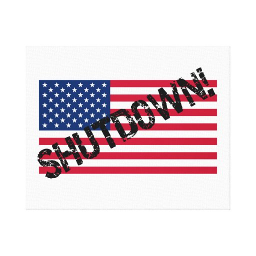 United States Flag Government Shutdown Gallery Wrap Canvas