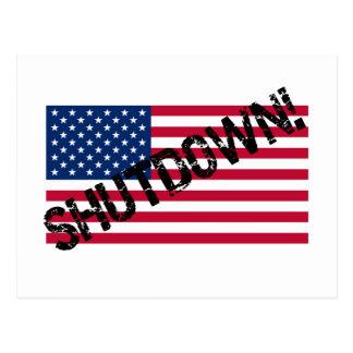 United States Flag Government Shutdown Postcard