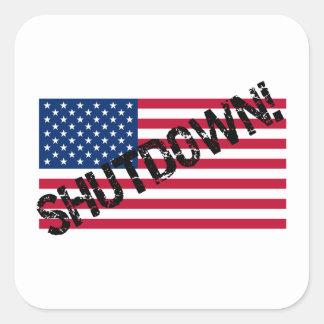 United States Flag Government Shutdown Square Sticker