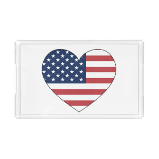 United States Flag Heart Acrylic Tray