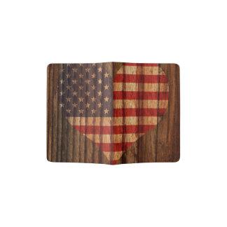 United+States Flag Heart on Wood theme Passport Holder