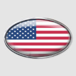 United States Flag in Glass Oval (pack of 4) Stickers