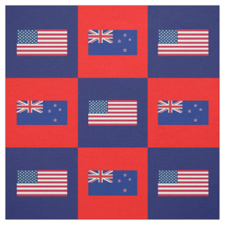 United States Flag, New Zealand Flag on Blue & Red Fabric