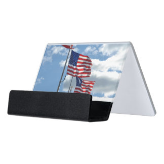 United States Flag Photograph Desk Business Card Holder