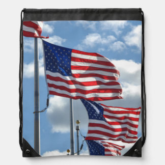 United States Flag Photograph Drawstring Bag