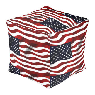 United States Flag Polyester Cubed Pouf (Large)