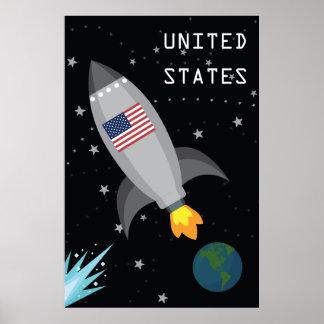 United States Flag Rocket Ship Poster