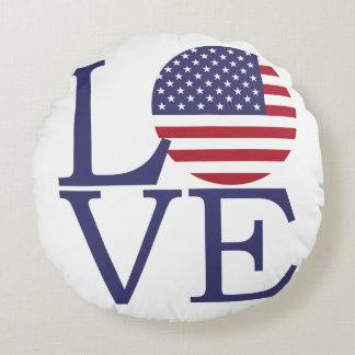 United States Flag Round Cushion