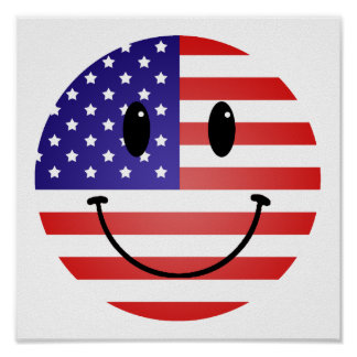 United States Flag Smiley Poster