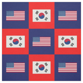 United States Flag, South Korea Flag on Blue & Red Fabric