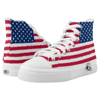 United States Flag USA American Patriotic High Tops