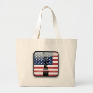 United States glossy flag Large Tote Bag
