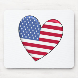 United States Heart Flag Mouse Pad