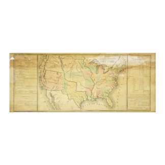 United States Including Western Territories 1848 Canvas Print
