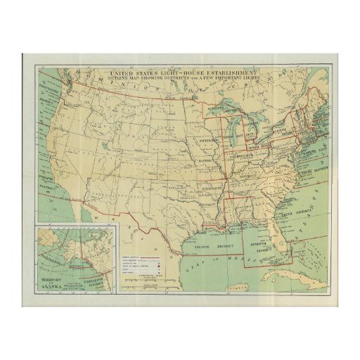 United States Light-House Outline Map 1896 Stretched Canvas Print