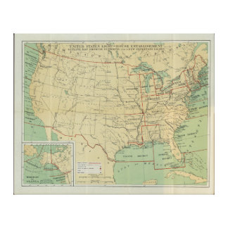 United States Light-House Outline Map 1896 Stretched Canvas Prints