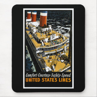 United States Lines Comfort Courtesy Safety Speed Mouse Pad