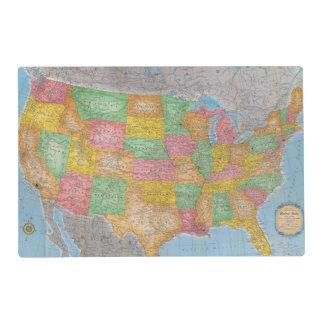 United States Map 3 Laminated Place Mat