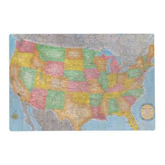 United States Map 3 Laminated Place Mat