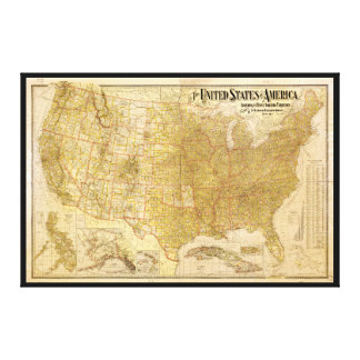 United States Map with Territories (1901) Stretched Canvas Prints