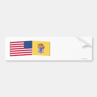 United States New Jersey Flags Bumper Sticker