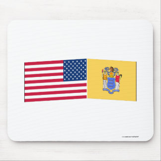 United States & New Jersey Flags Mouse Mat