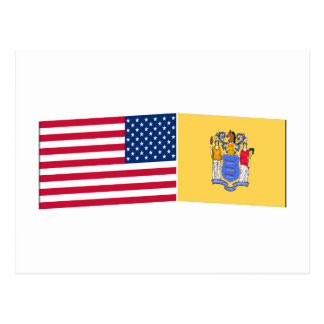United States & New Jersey Flags Post Card