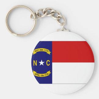 United States North Carolina Flag Basic Round Button Key Ring