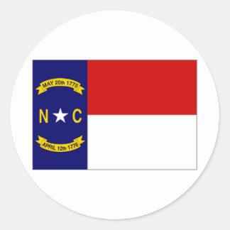 United States North Carolina Flag Round Sticker