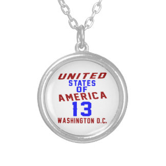 United States Of America 13 Washington D.C. Silver Plated Necklace
