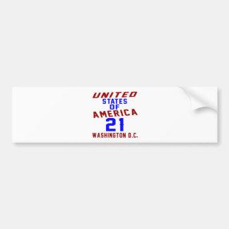United States Of America 21 Washington D.C. Bumper Sticker
