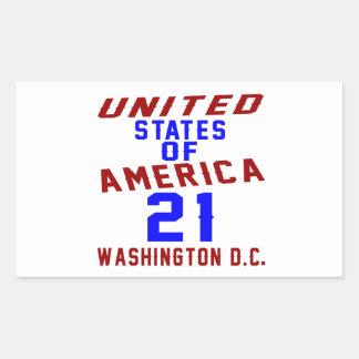 United States Of America 21 Washington D.C. Rectangular Sticker