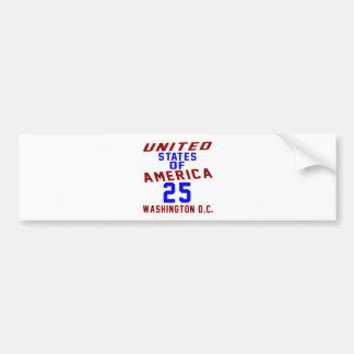 United States Of America 25 Washington D.C. Bumper Sticker