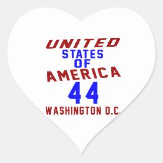 United States Of America 44 Washington D.C. Heart Sticker