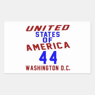 United States Of America 44 Washington D.C. Rectangular Sticker