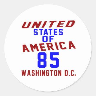 United States Of America 85 Washington D.C. Round Sticker