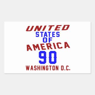 United States Of America 90 Washington D.C. Rectangular Sticker