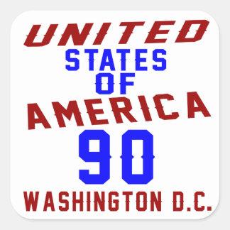 United States Of America 90 Washington D.C. Square Sticker