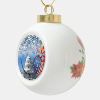 United States of America Ceramic Ball Christmas Ornament