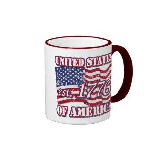 United States Of America est 1776 US Flag distress Mugs