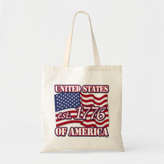 United States Of America est 1776 with USA Flag Canvas Bags