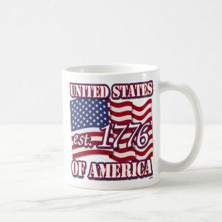 United States Of America est 1776 with USA Flag Basic White Mug